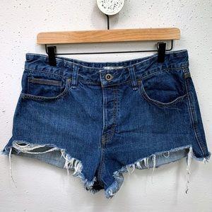Free People Frayed Hem Cut-Off Denim Shorts 31